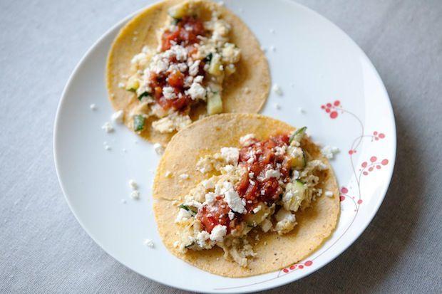 Zucchini Scramble Breakfast Tacos