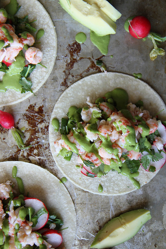 Lobster Tacos with Green Onion Cilantro Sauce