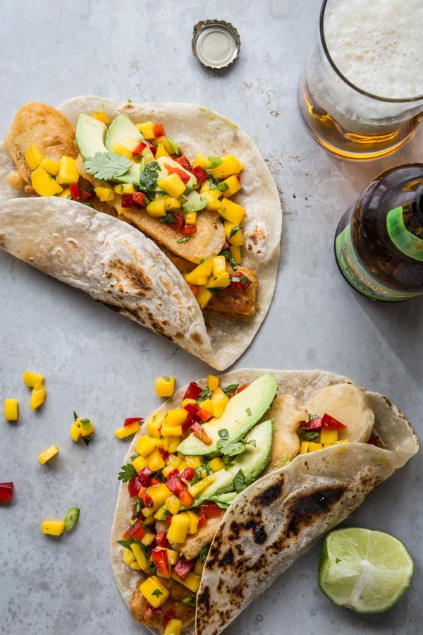 Beer-Battered Tofu Tacos with Mango Salsa