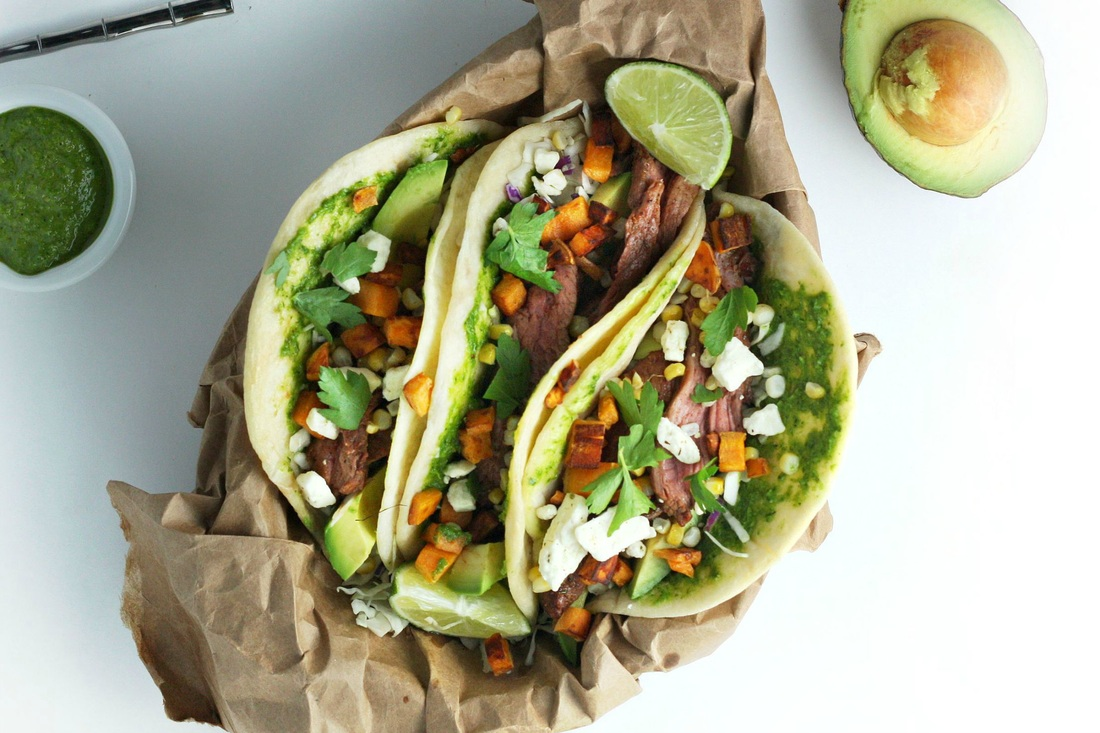 Bison Tacos with Sweet Potato and Jalapeno Chimichurri