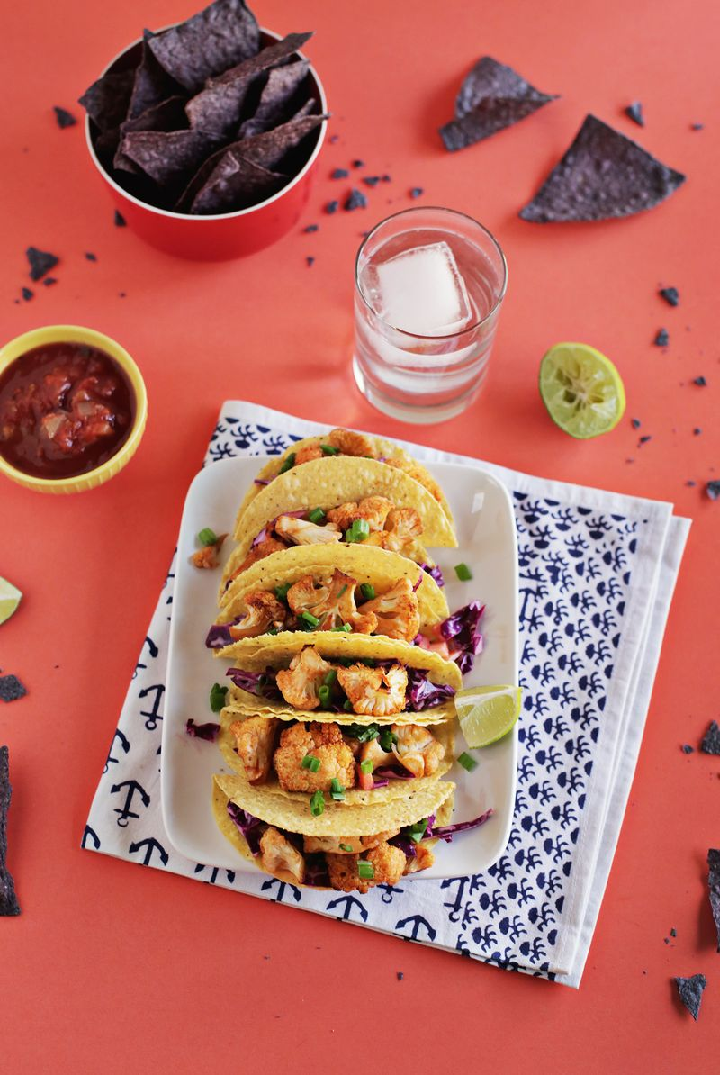 Sriracha Roasted Cauliflower Tacos with Quick Red Cabbage Slaw